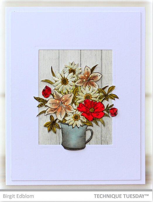 flower bouquet card  paper craft project idea  technique