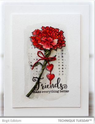 Friends Red Carnation Handmade Friendship Card Paper Craft