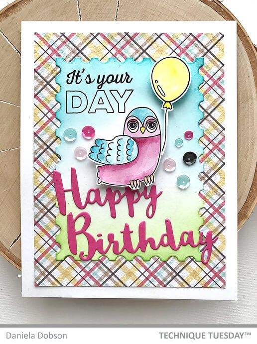 Happy Birthday Party Owl Card Paper Craft Project Idea Technique