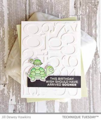 Late Turtle Birthday Card Paper Craft Project Idea Technique Tuesday