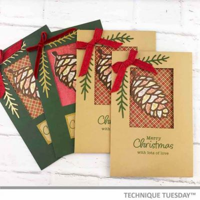 Merry Pinecone Christmas Cards | Paper Craft Project Idea | Technique Tuesday