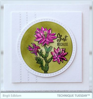 Purple Just Because Cactus Flower Card Paper Craft Project Idea