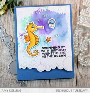 Swimming By Seahorse Card