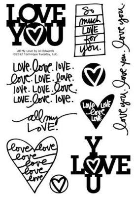 all my love stamp set by ali edwards technique tuesday