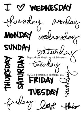 Days Of The Week Stamp Set By Ali Edwards