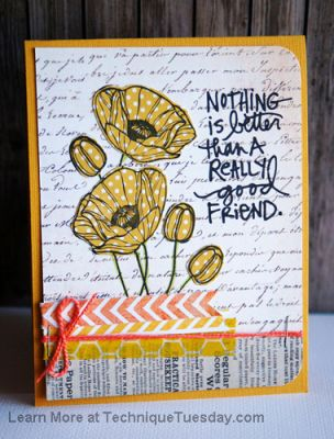 Good Friend Poppies Card Paper Craft Project Idea Technique Tuesday