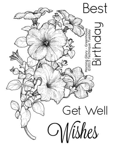 Black Art Stamps Best Wishes Flowers Stamp