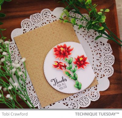 Thanks No Line Cactus Flower Card Paper Craft Project Idea